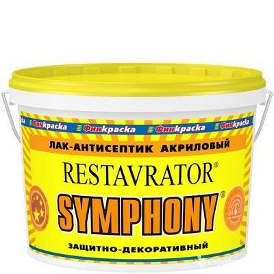 """Фото 1 - Лак-Антисептик Симфония Симфония """"Реставратор""""(Restavrator) акриловый для внутренних работ (база ЕР) (9 л) шелковисто-матовый, бесцветный) """"Symphony""""."""