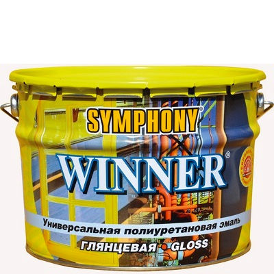 """Фото 6 - Эмаль Симфония """"Виннер"""" (Winner) полиуретоновая универсальная для металлических поверхностей (база А)( глянцевая)(9 л) """"Symphony""""."""