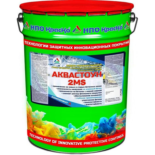 """Фото 8 - Грунт-Пропитка """"Аквастоун 2MS"""" водно-полиуретановая для упрочнения бетонных полов 2К """"Цвет - Бесцветный"""" """"Вес - 10 кг"""" """"КрасКо""""."""
