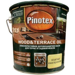 """Фото 1 - Масло """"Pinotex Wood&Terrace Oil"""" матовое для деревянных поверхностей  (2,7 л, бесцветное)."""