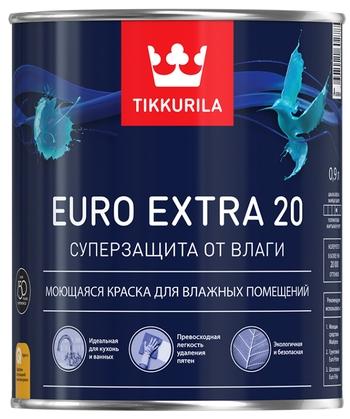 """Фото 17 - Краска Тиккурила """"Евро Экстра 20""""(Euro Extra 20) водоразбавляемая полуматовая интерьерная (База А) (2.7л) """"Tikkurila""""."""