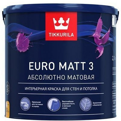 "Фото 1 - Краска Тиккурила ""Евро мат 3"" (Euro Matt 3) абсолютно матовая интерьерная  (База С) (9л) ""Tikkurila""."