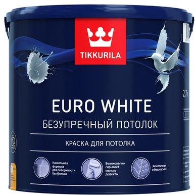 "Фото 1 - Краска Тиккурила ""Евро Уайт"" (Euro White) водоразбавляемая матовая для потолка  (База А) (9л) ""Tikkurila""."