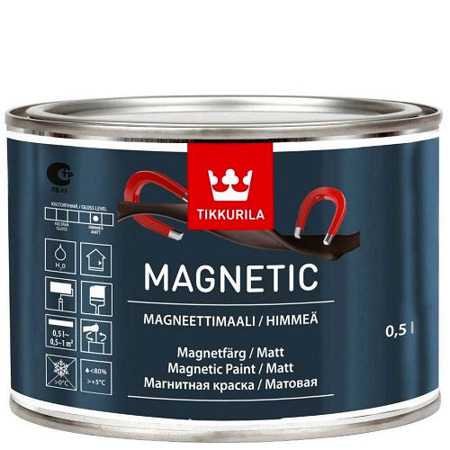 """Фото 1 - Краска Тиккурила """"Магнетик"""" (Magnetic) водоразбавляемая матовая притягивающая магниты  (Серый) (0.5л) """"Tikkurila""""."""