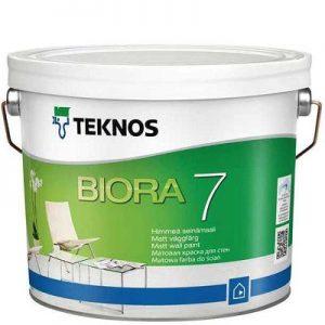"""Фото 11 - Краска Текнос """"Биора 7"""" (Biora 7) акрилатная матовая для стен внутри помещения (база РМ1) ( 2.7 л) """"Teknos""""."""