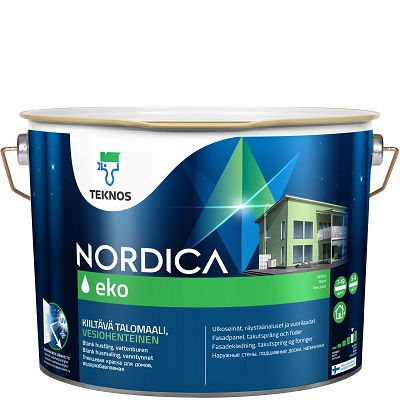 """Фото 7 - Краска Текнос """"Нордика Эко"""" (Nordica Eko) акрилатная глянцевая для наружных деревянных поверхностей (база РМ1) ( 2.7 л) """"Teknos""""."""