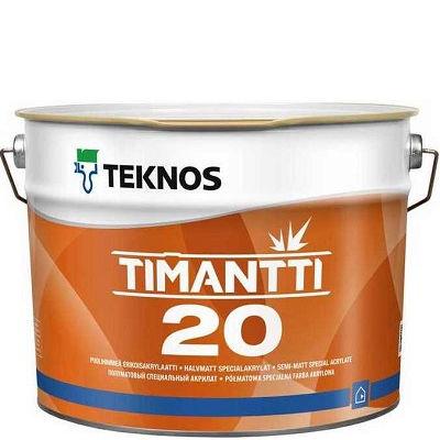 """Фото 12 - Краска Текнос """"Тиманти 20"""" (Timantti 20) акрилатная полуматовая для стен и потолков (база РМ1) ( 2.7 л) """"Teknos""""."""