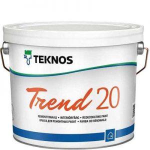 """Фото 1 - Краска Текнос """"Тренд 20"""" (Trend 20) акрилатная дисперсионная полуматовая для интерьеров (база РМ1) ( 2.7 л) """"Teknos""""."""