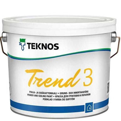 """Фото 24 - Краска Текнос грунтовочная """"Тренд 3"""" (Trend 3) акрилатная матовая дисперсионная для интерьеров (2.7 л) """"Teknos""""."""