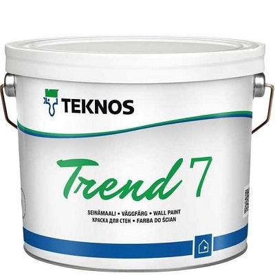 """Фото 1 - Краска Текнос """"Тренд 7"""" (Trend 7) дисперсионная акрилатная матовая для внутренних работ (база РМ3) ( 9 л) """"Teknos""""."""
