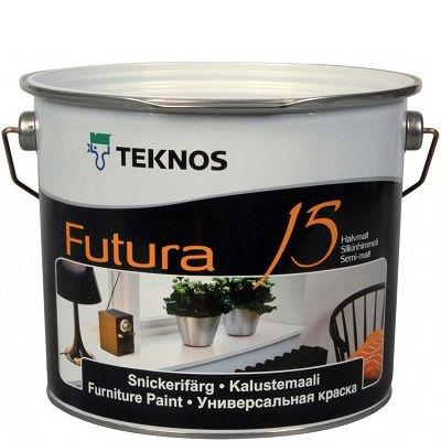 """Фото 1 - Краска Текнос """"Футура 15"""" (Futura 15) уретано-алкидная полуматовая универсальная (база РМ1) ( 2.7 л) """"Teknos""""."""