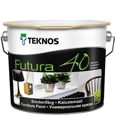 """Фото 4 - Краска Текнос """"Футура 40"""" (Futura 40) уретано-алкидная полуглянцевая желеобразная универсальная (база РМ1) ( 2.7 л) """"Teknos""""."""