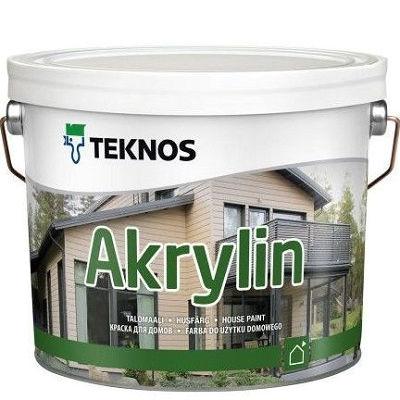 """Фото 3 - Краска Текнос """"Акрилин"""" (Akrylin) акрилатная полуматовая для наружных работ (база РМ1) ( 2.7 л) """"Teknos""""."""