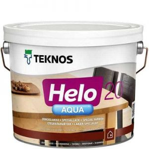 """Фото 13 - Лак Текнос """"Хело Аква 20"""" (Helo Aqua 20) водоразбавляемый полуматовый для деревянных поверхностей (2.7 л) """"Teknos""""."""
