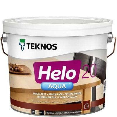 """Фото 1 - Лак Текнос """"Хело Аква 20"""" (Helo Aqua 20) водоразбавляемый полуматовый для деревянных поверхностей (2.7 л) """"Teknos""""."""