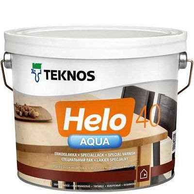 """Фото 3 - Лак Текнос """"Хело Аква 40"""" (Helo Aqua 40) водоразбавляемый полуглянцевый для деревянных поверхностей(2.7 л) """"Teknos""""."""