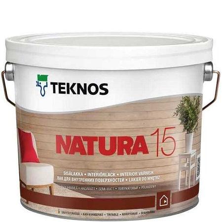"""Фото 1 - Лак Текнос """"Натура 15"""" (Natura 15) акриловый полуматовый для внутренних работ (9 л) """"Teknos""""."""