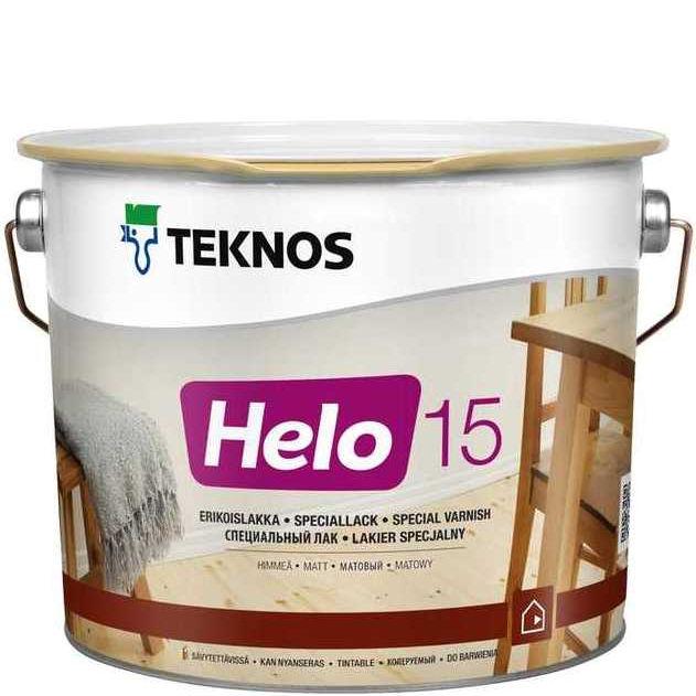 """Фото 16 - Лак Текнос """"Хело 15"""" (Helo 15) уретано-алкидный матовый для деревянных поверхностей (2.7 л) """"Teknos""""."""