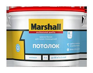 """Фото 16 - Краска """"Marshall"""" Потолок матовая водно дисперсионная акриловая краска для потолков  - (2,5 л) """"Маршал""""."""