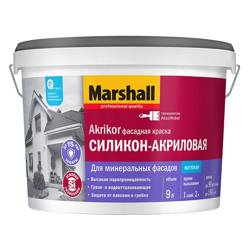 """Фото 1 - Краска """"Marshall"""" AKRIKOR фасадная, силикон-акриловая, матовая  - база BW (2,5 л) """"Маршал""""."""