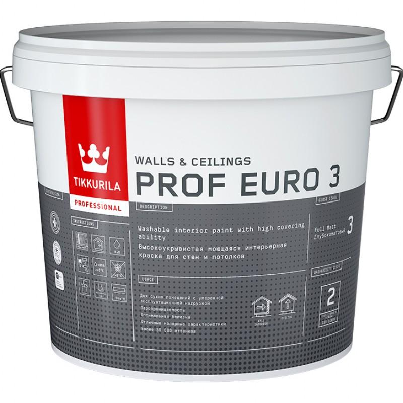 Фото 10 - Краска TIKKURILA PROF EURO 3, интерьерная, моющаяся, глубокоматовая, База C, 9 л.
