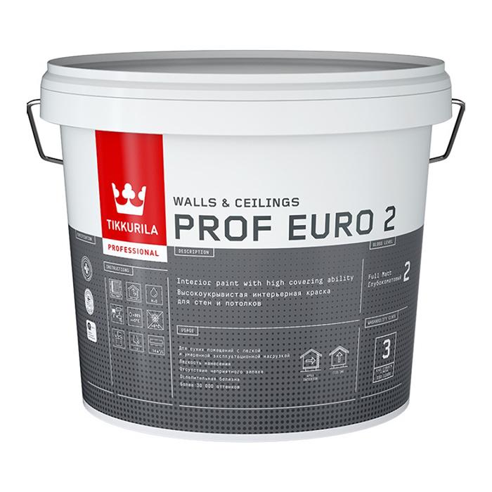 Фото 3 - Краска TIKKURILA PROF EURO 2, интерьерная, для стен и потолков, База А, 9 л.