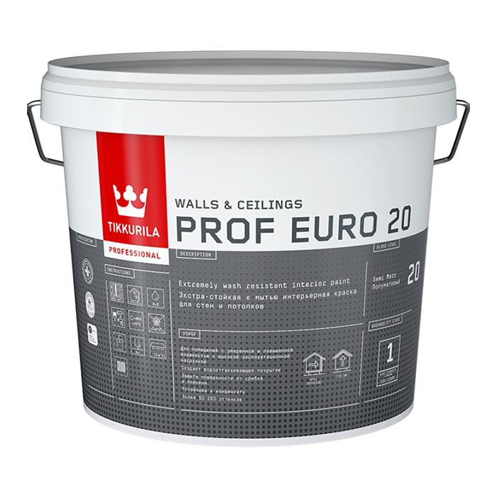 Фото 7 - Краска TIKKURILA PROF EURO 20, интерьерная, для влажных помещений, полуматовая, База А, 9 л.