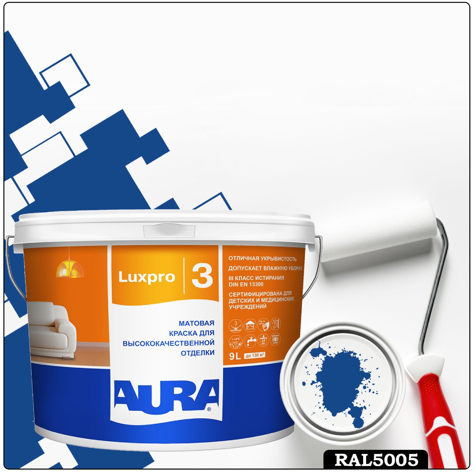 Фото 6 - Краска Aura LuxPRO 3, RAL 5005 Сигнальный синий, латексная, шелково-матовая, интерьерная, 9л, Аура.