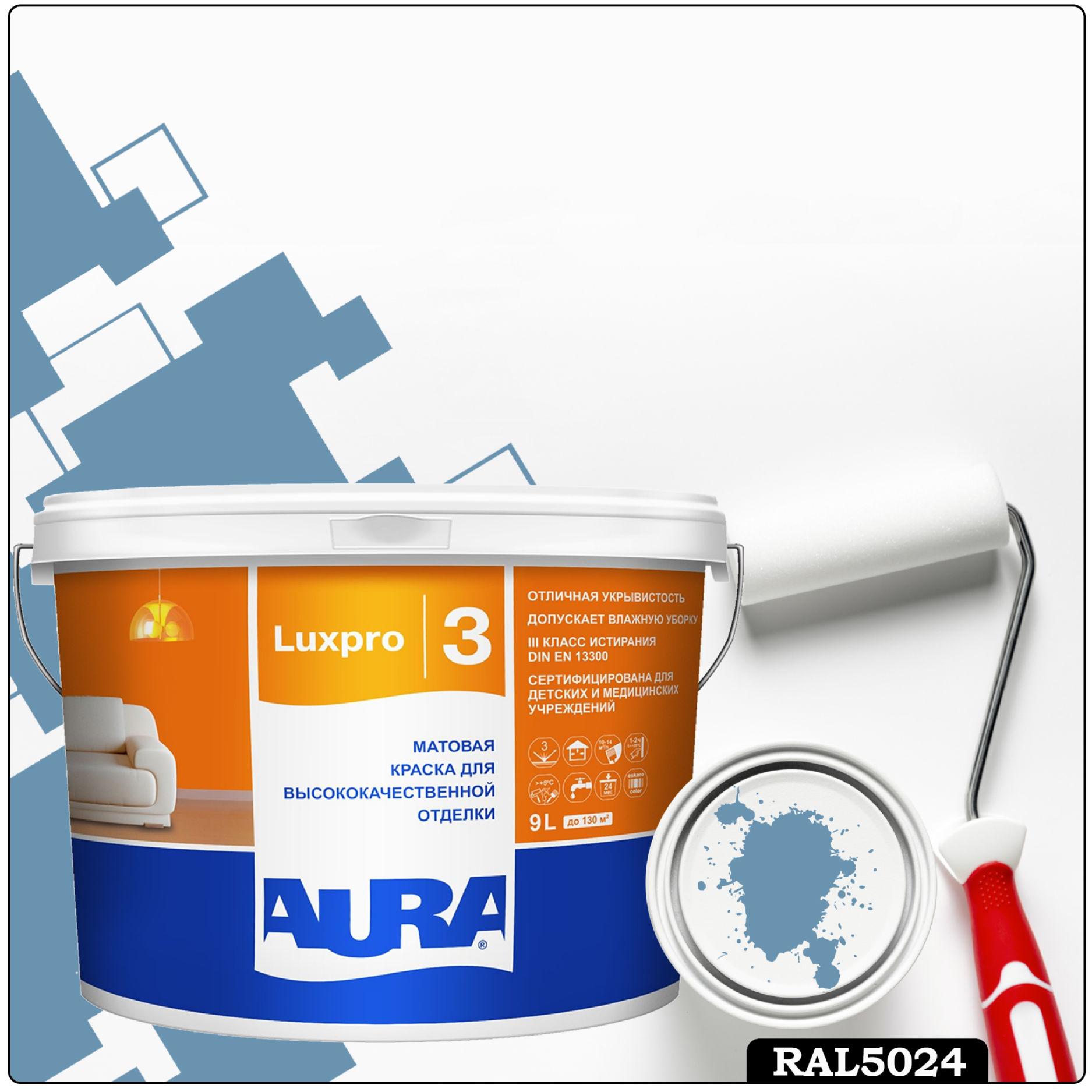 Фото 23 - Краска Aura LuxPRO 3, RAL 5024 Пастельно-синий, латексная, шелково-матовая, интерьерная, 9л, Аура.