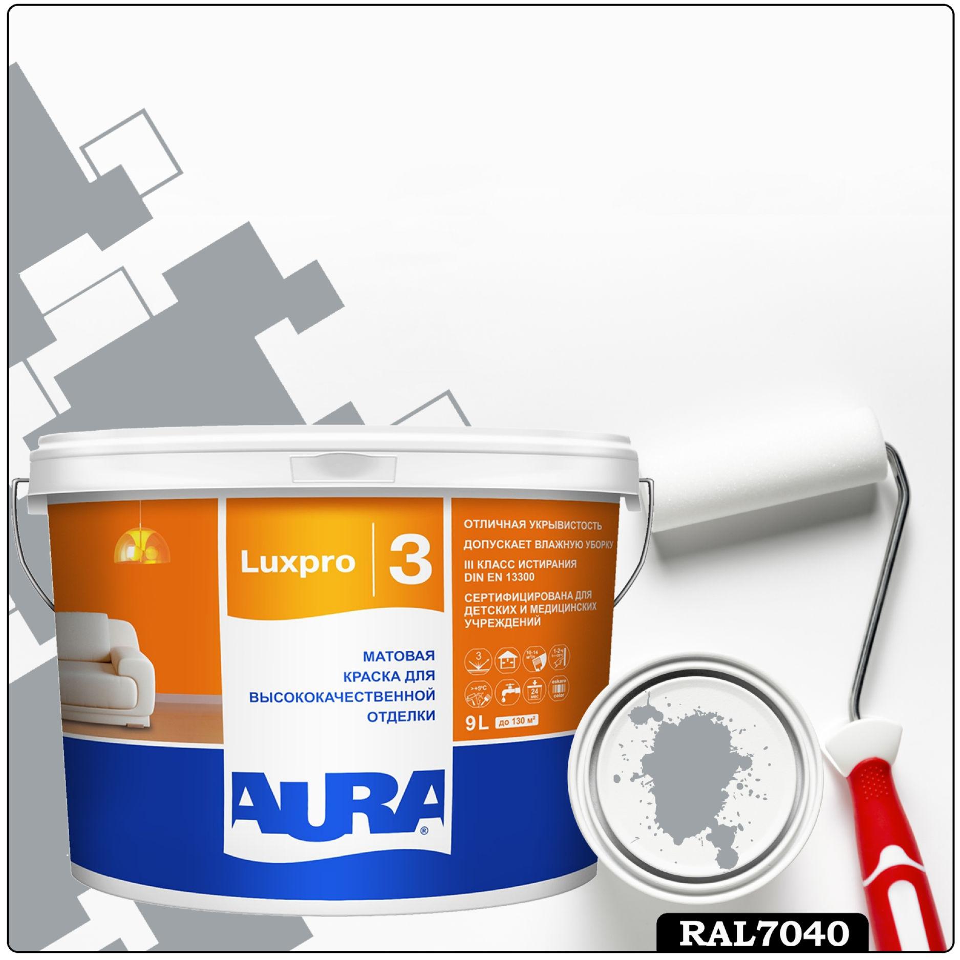 Фото 2 - Краска Aura LuxPRO 3, RAL 7040 Серое окно, латексная, шелково-матовая, интерьерная, 9л, Аура.