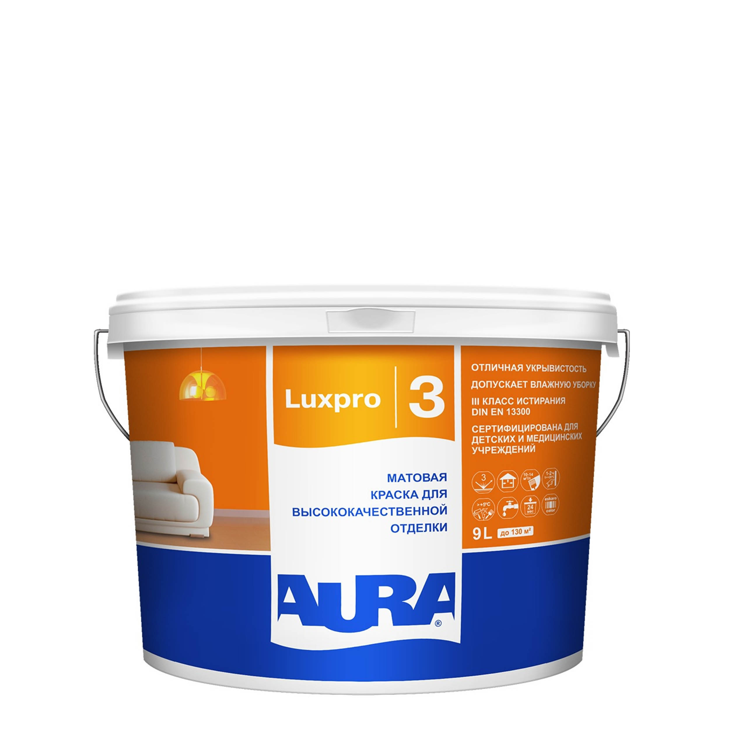 Фото 4 - Краска интерьерная, Aura LuxPRO 3, RAL 5017, 11 кг.