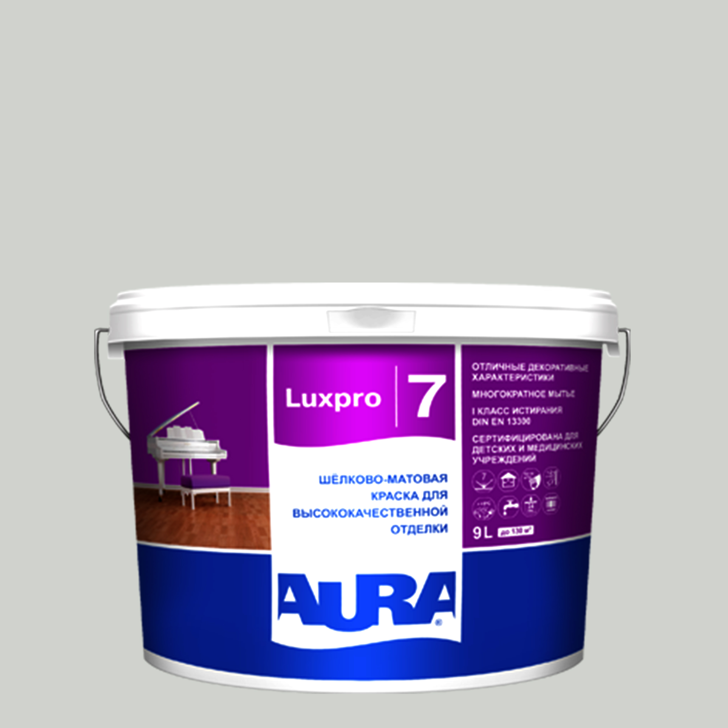 Фото 4 - Краска интерьерная, Aura LuxPRO 7, RAL 7021, 11 кг.
