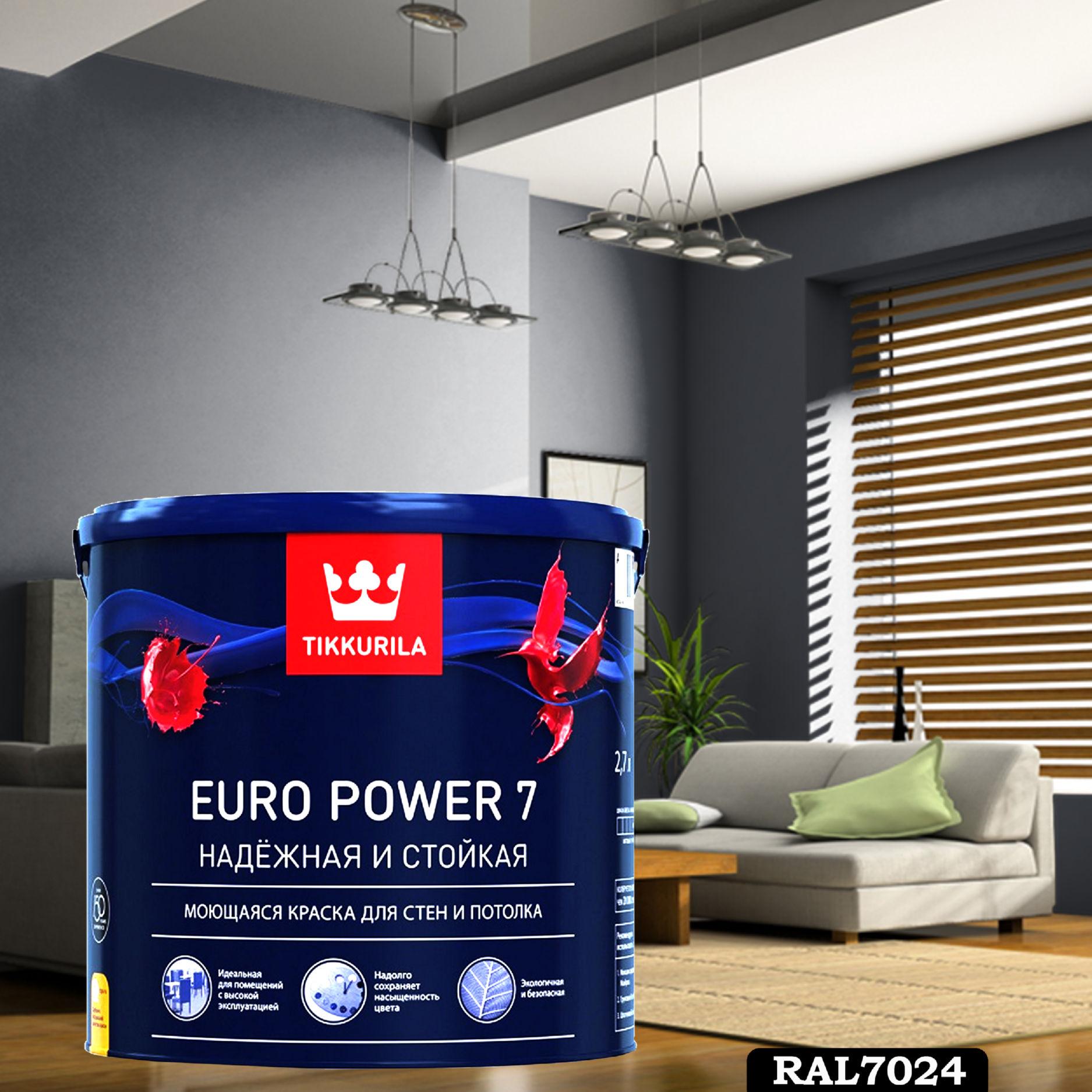Фото 19 - Краска TIKKURILA Euro Power 7,  RAL 7024 Графитовый-серый, латексная моющаяся матовая интерьерная, 9 л.