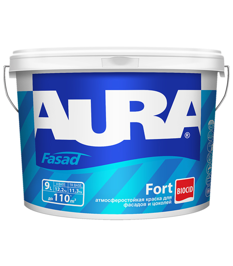 Фото 1 - Краска фасадная Aura Fasad Fort, RAL 1018, 12кг.