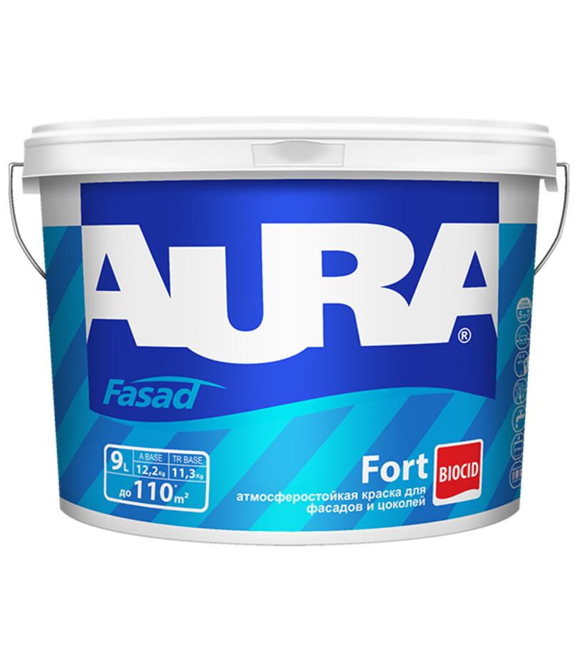 Фото 1 - Краска фасадная Aura Fasad Fort, RAL 3000, 12кг.