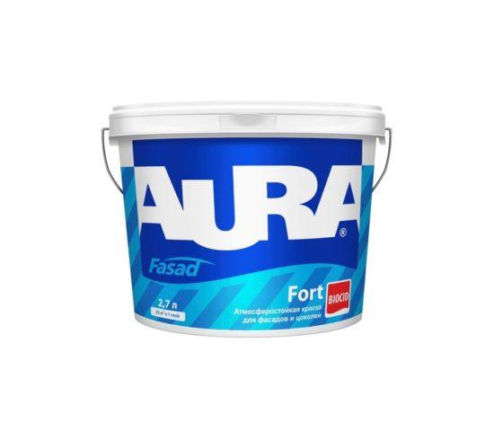 Фото 1 - Краска Aura Fasad Fort, латексная матовая для фасада и цоколей 2,7л База TR.