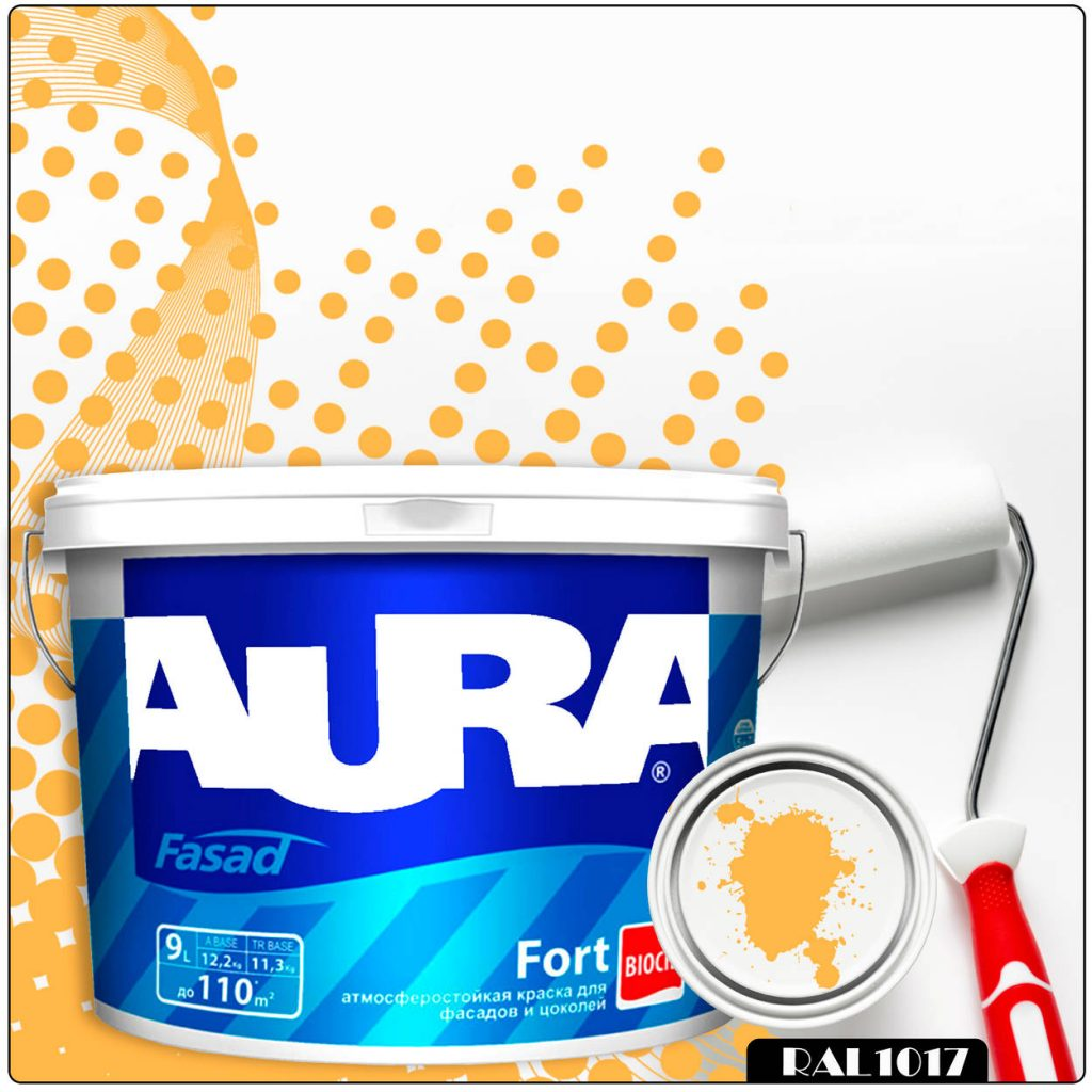 Фото 1 - Краска Aura Fasad Fort, RAL 1017 Шафраново-жёлтый, латексная, матовая, для фасада и цоколей, 9л, Аура.