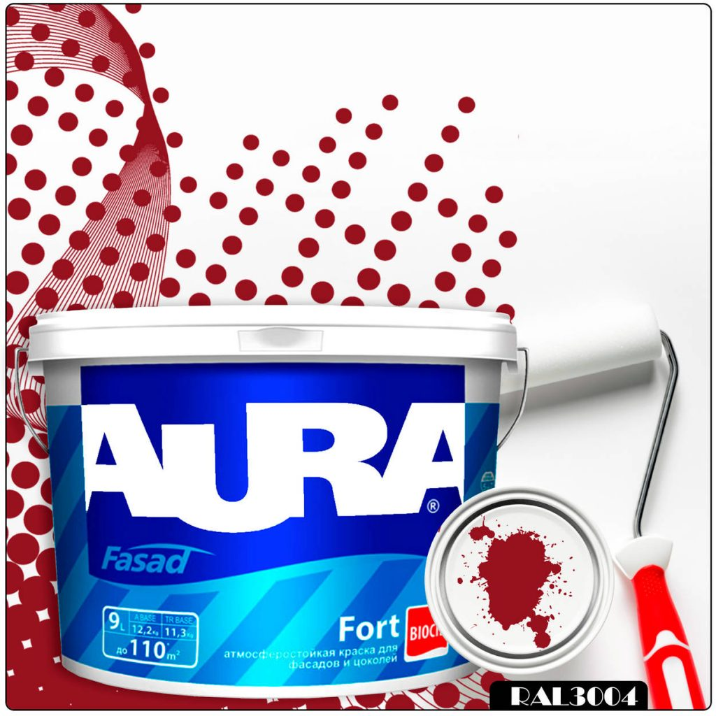 Фото 1 - Краска Aura Fasad Fort, RAL 3004 Пурпурно-красный, латексная, матовая, для фасада и цоколей, 9л, Аура.