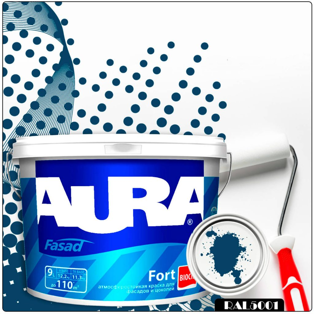 Фото 1 - Краска Aura Fasad Fort, RAL 5001 Зелёно-синий, латексная, матовая, для фасада и цоколей, 9л, Аура.