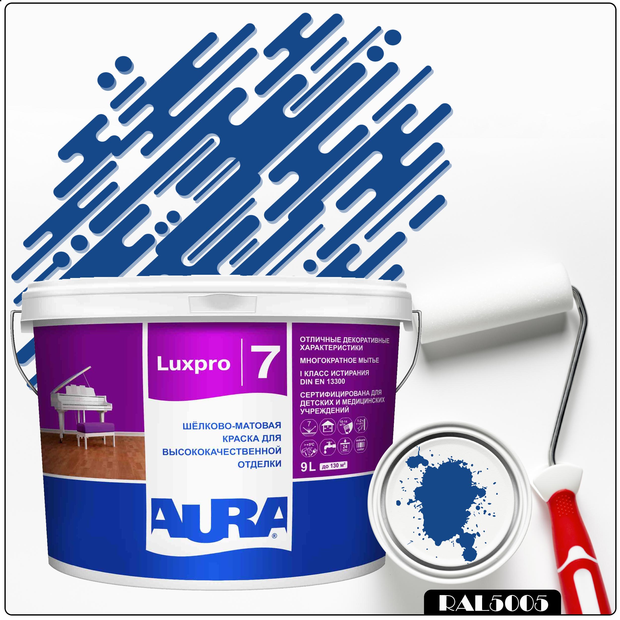 Фото 6 - Краска Aura LuxPRO 7, RAL 5005 Сигнальный синий, латексная, шелково-матовая, интерьерная, 9л, Аура.