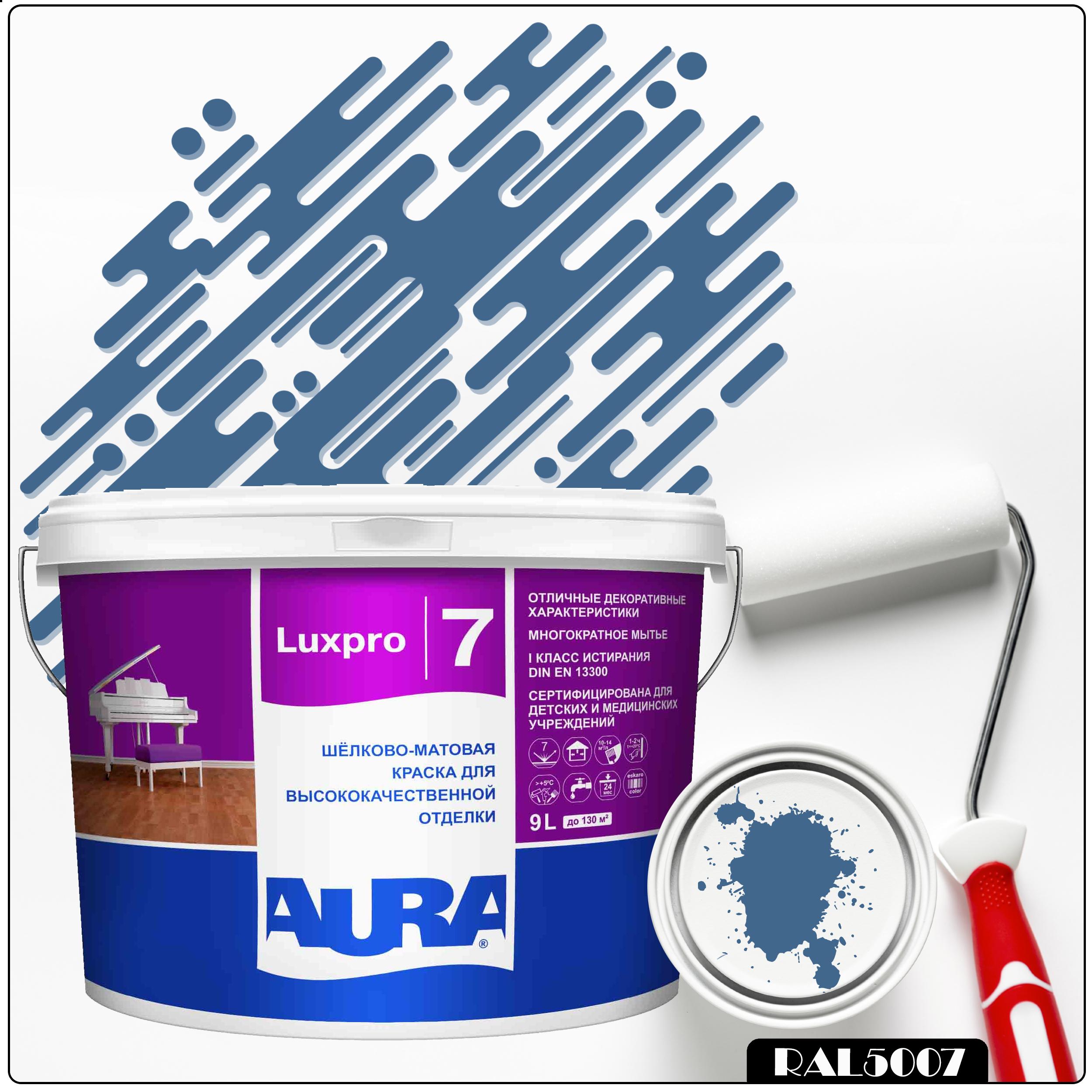Фото 7 - Краска Aura LuxPRO 7, RAL 5007 Бриллиантово-синий, латексная, шелково-матовая, интерьерная, 9л, Аура.