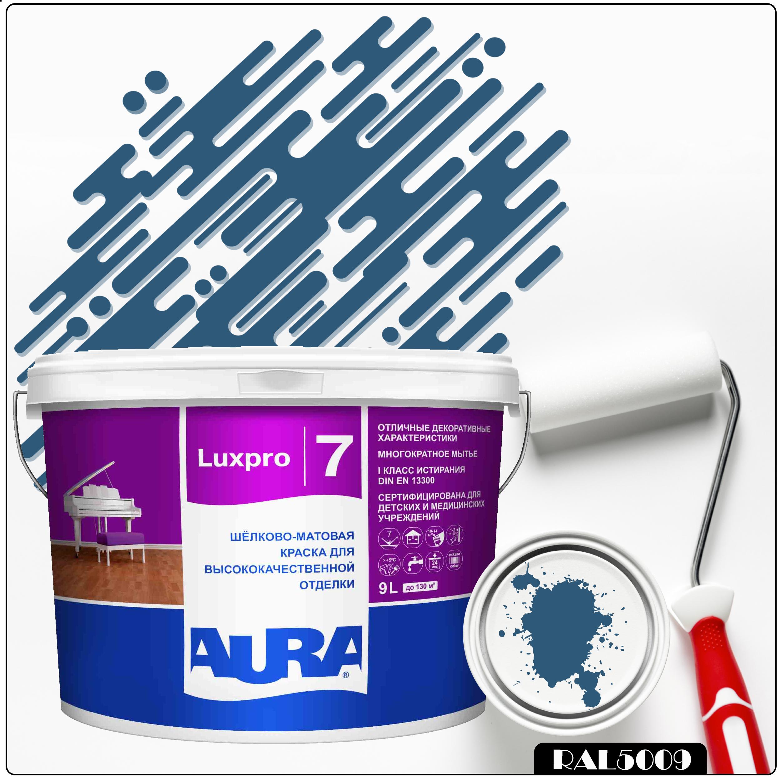 Фото 9 - Краска Aura LuxPRO 7, RAL 5009 Лазурно-синий, латексная, шелково-матовая, интерьерная, 9л, Аура.