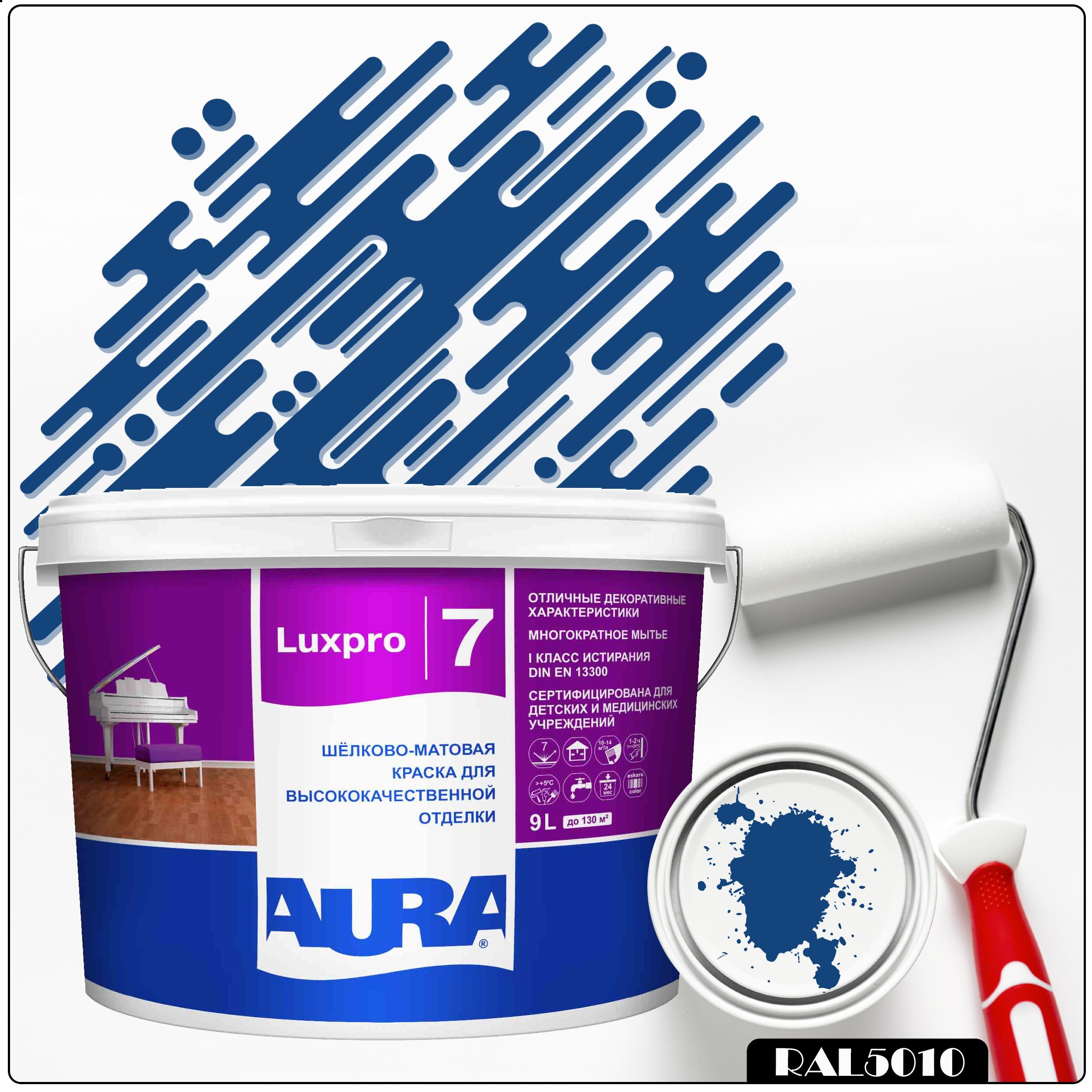 Фото 10 - Краска Aura LuxPRO 7, RAL 5010 Горечавково-синий, латексная, шелково-матовая, интерьерная, 9л, Аура.