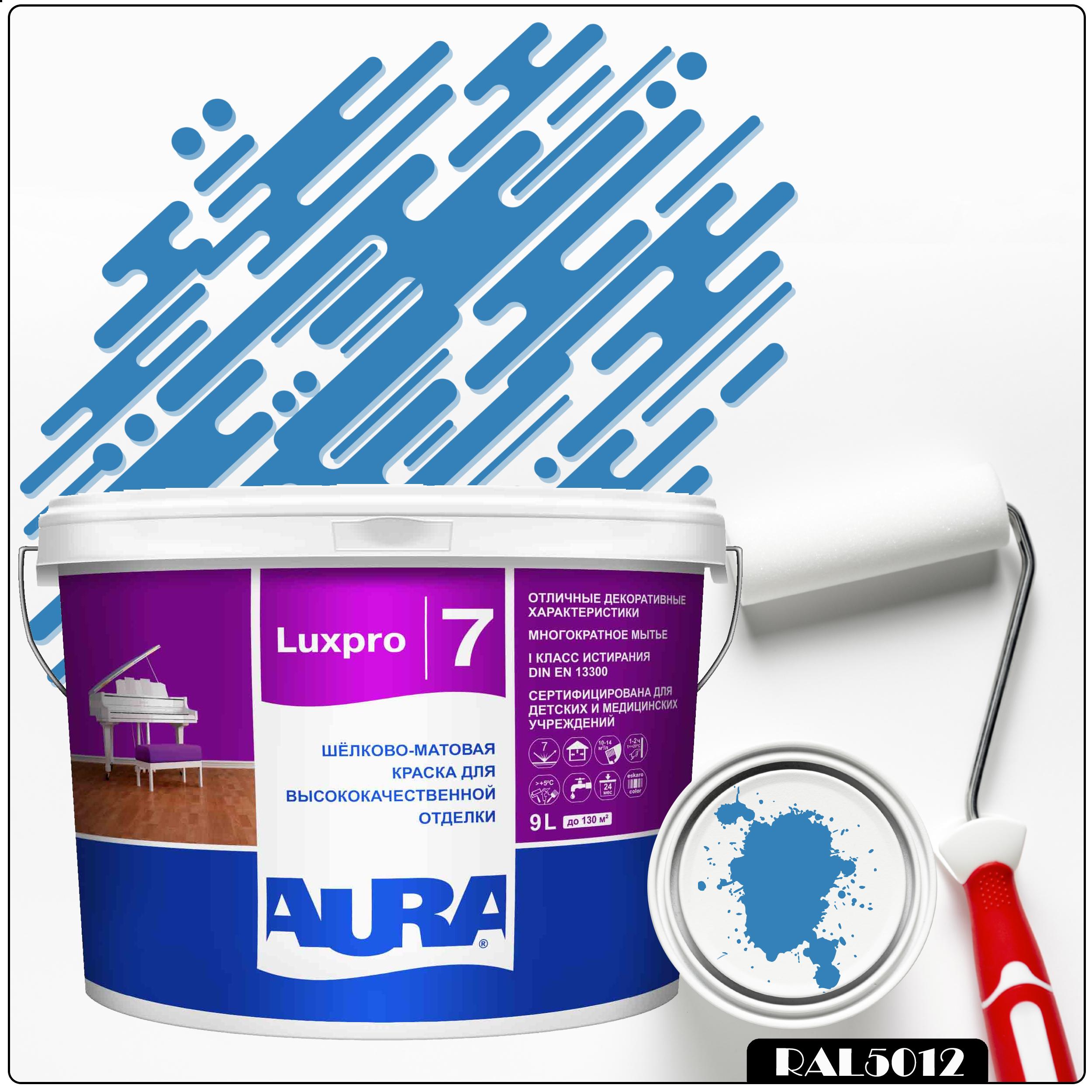 Фото 12 - Краска Aura LuxPRO 7, RAL 5012 Голубой, латексная, шелково-матовая, интерьерная, 9л, Аура.