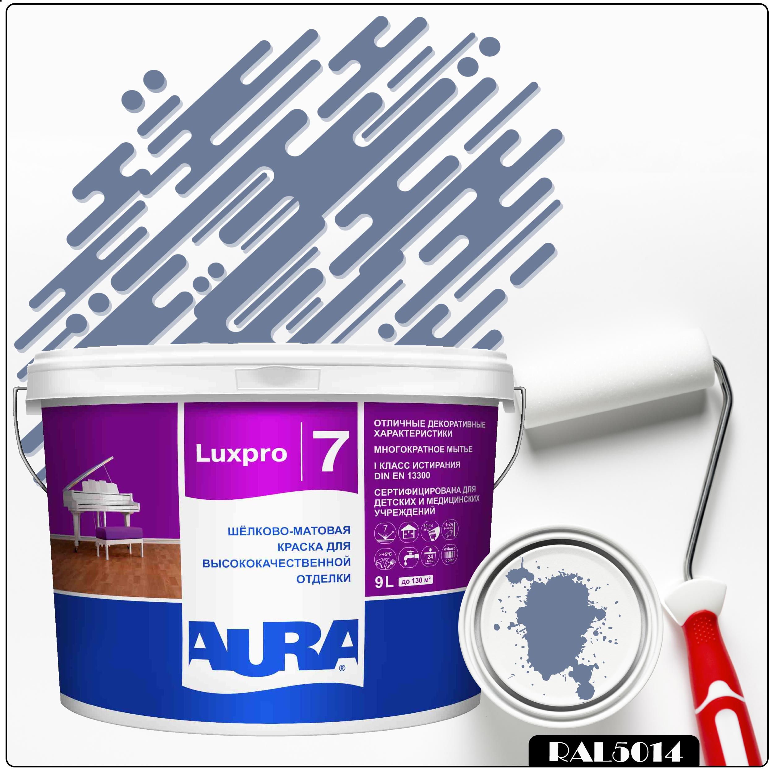 Фото 14 - Краска Aura LuxPRO 7, RAL 5014 Голубино-синий, латексная, шелково-матовая, интерьерная, 9л, Аура.