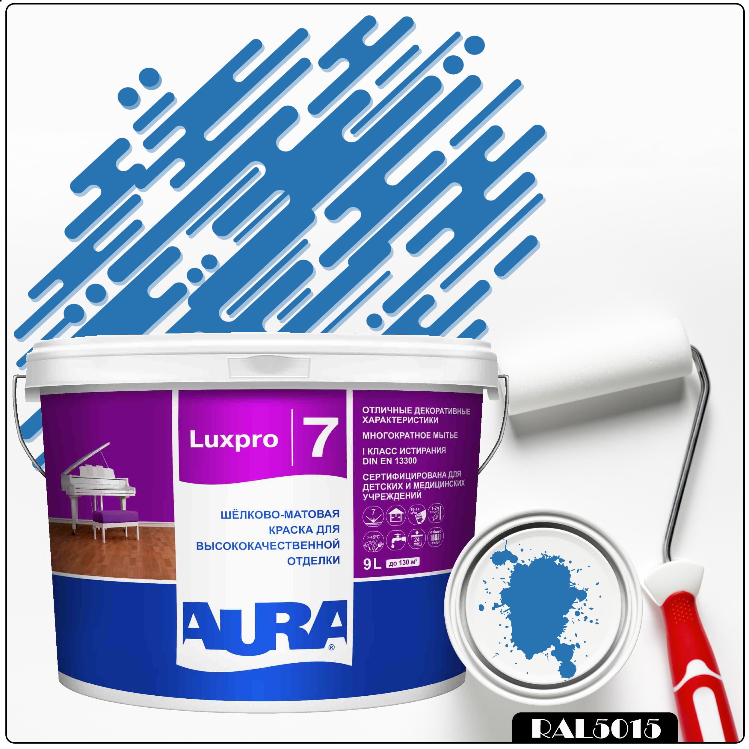 Фото 15 - Краска Aura LuxPRO 7, RAL 5015 Небесно-синий, латексная, шелково-матовая, интерьерная, 9л, Аура.