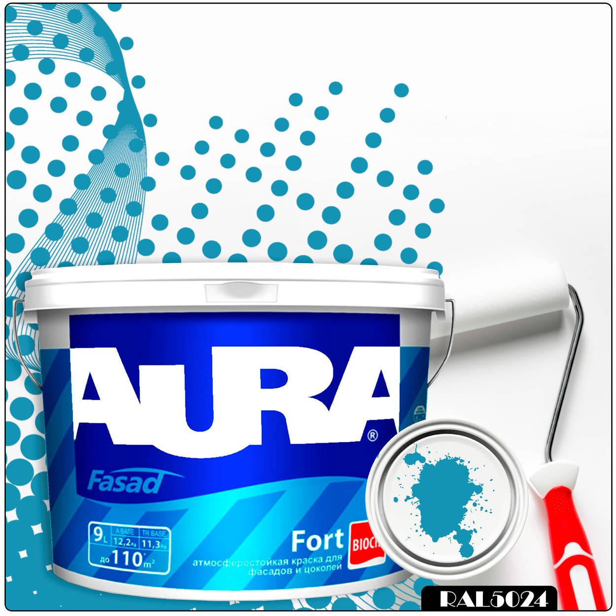 Фото 23 - Краска Aura Fasad Fort, RAL 5024 Пастельно-синий, латексная, матовая, для фасада и цоколей, 9л, Аура.