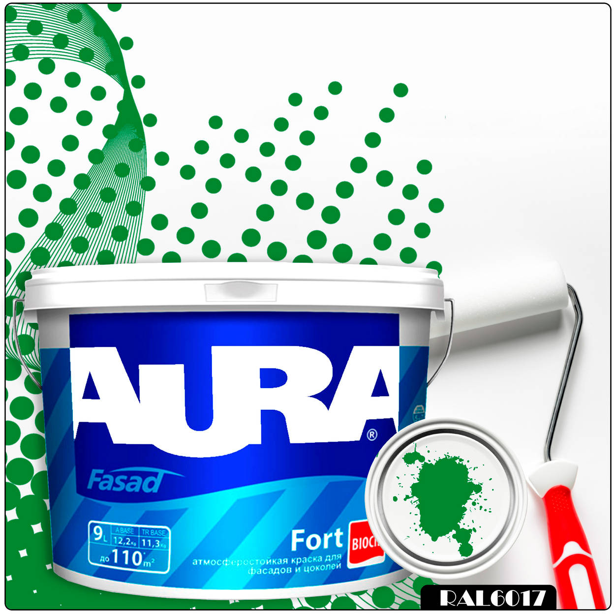 Фото 18 - Краска Aura Fasad Fort, RAL 6017 Майская зелень, латексная, матовая, для фасада и цоколей, 9л, Аура.