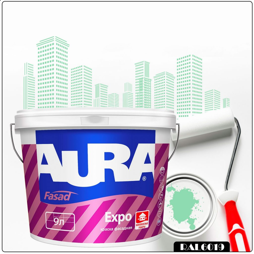 Фото 1 - Краска Aura Fasad Expo, RAL 6019 Бело-зелёный, матовая, для фасадов и помещений с повышенной влажностью, 9л.