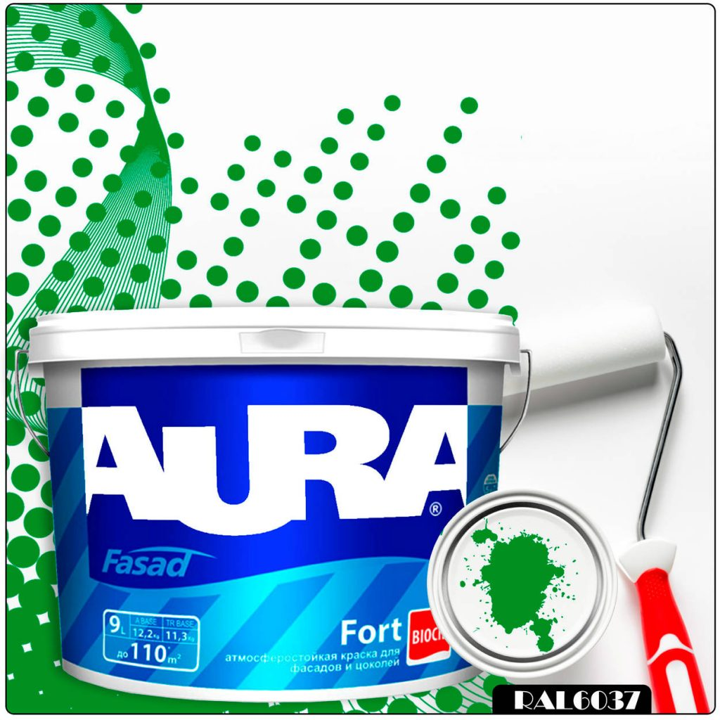 Фото 1 - Краска Aura Fasad Fort, RAL 6037 Зеленый, латексная, матовая, для фасада и цоколей, 9л, Аура.